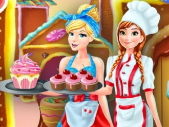 Anna and Cinderella at the Cupcakes Fact