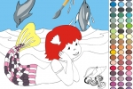Little Mermaid At The Beach Coloring