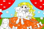 Princess With Her Bear Doll Coloring