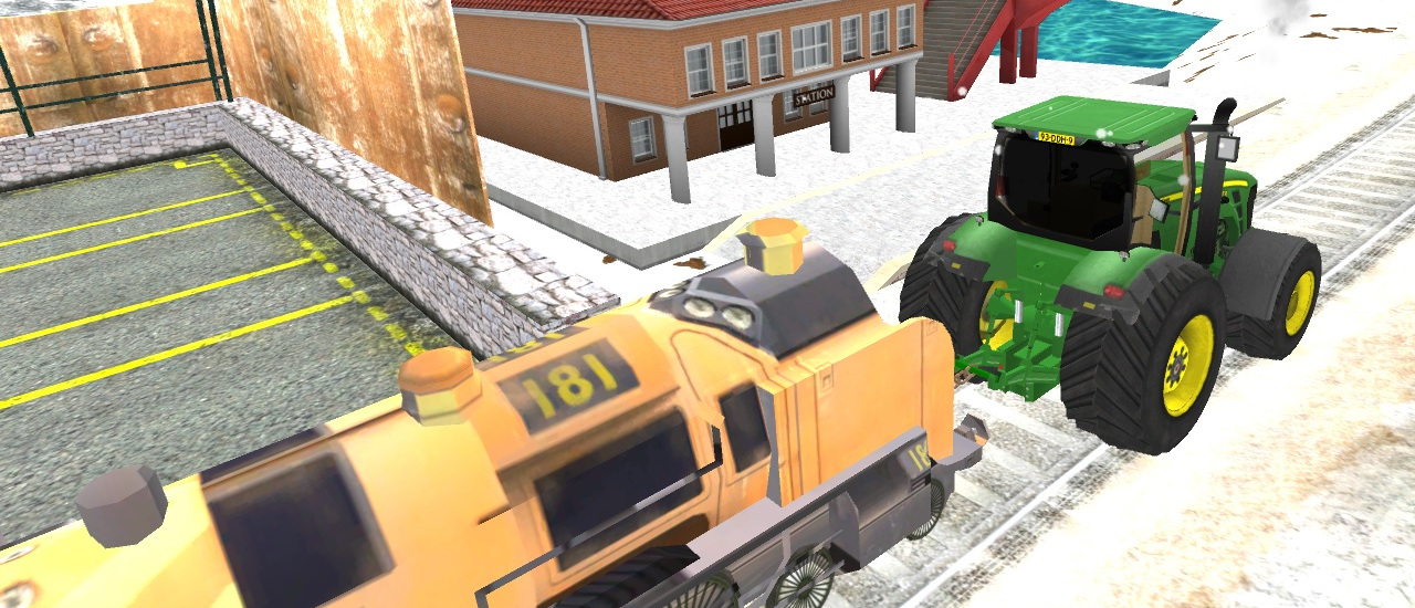Tractor Towing Train