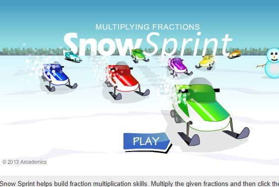 Snow Sprint Fraction Multiplication