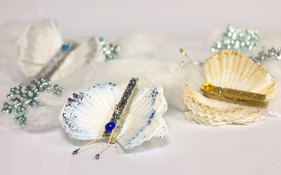 Cupcake Liner Butterfly Ornaments
