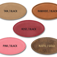 Leatherette oval badges large