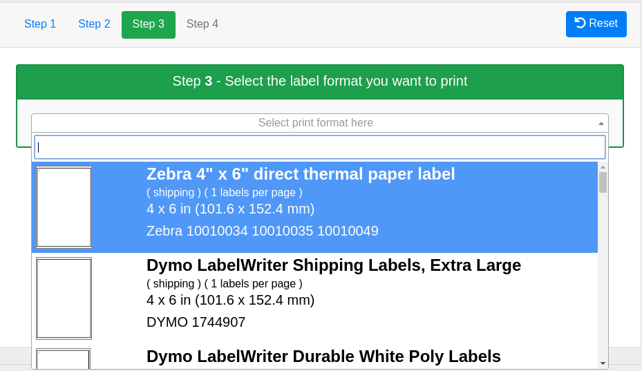 how to print amazon fba labels to a 4x6 inch format on a zebra