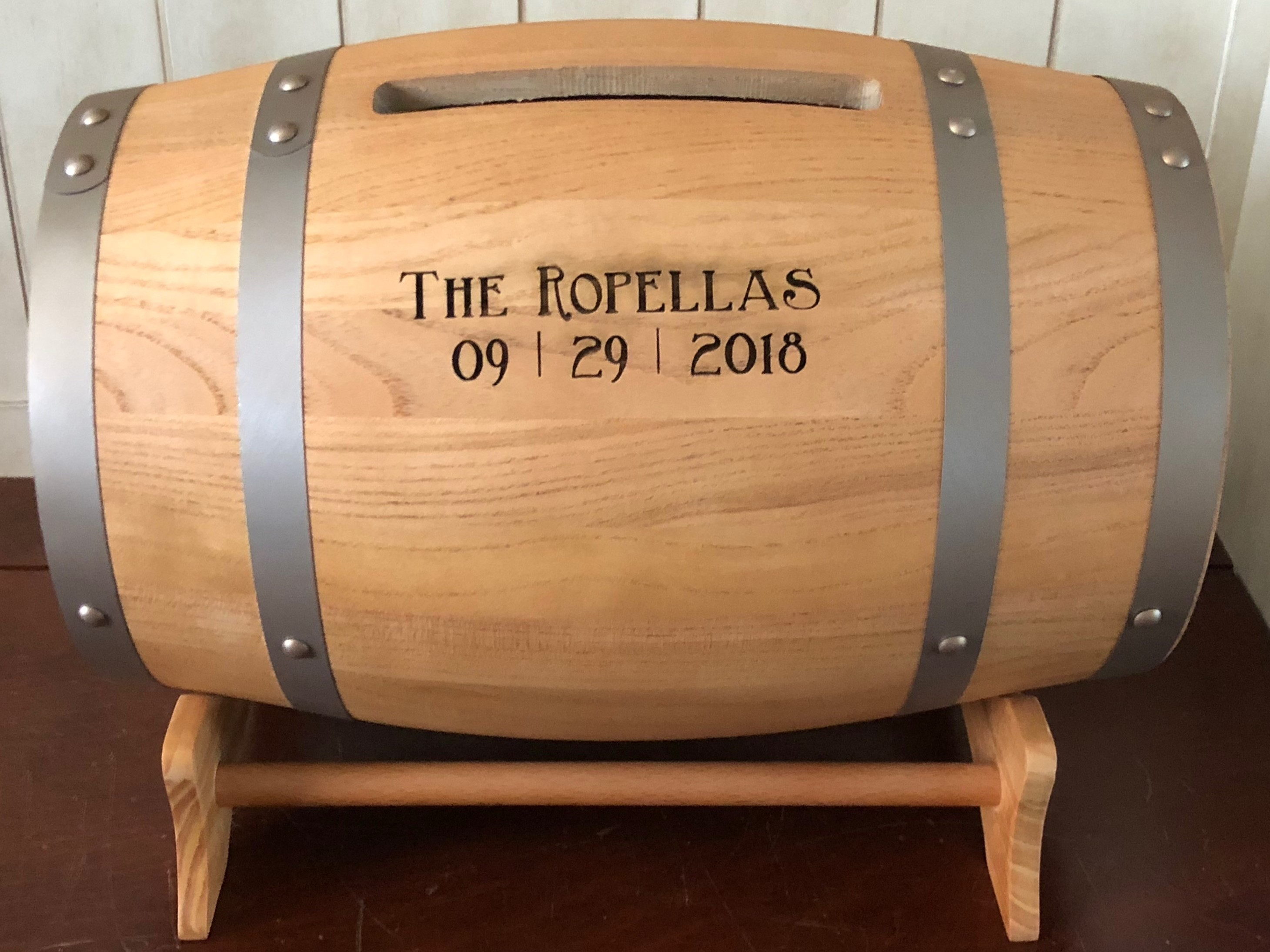 Wedding gift card holder wood wine barrel personalized we have several wine barrels planned for use in the venue and this will really go great with the theme we were impressed with the personalization altavistaventures Gallery