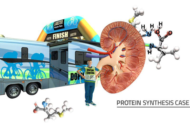Decorative Title Image with doping control person, kidney, and a chemical structure at a bike race finish.