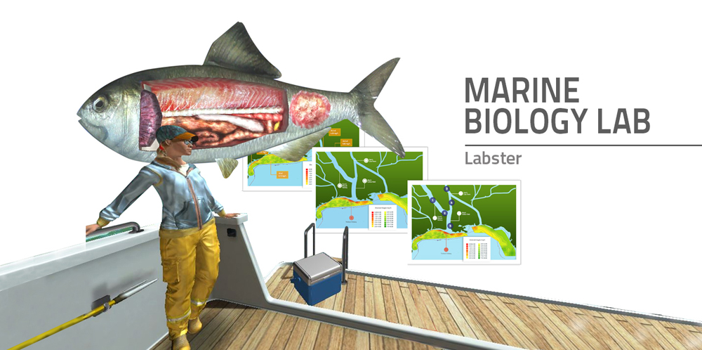 """A man is standing at the end of a boat looking into the void. Behind him images appearing during the simulation are displayed. On the right the text says """"Marine Biology Lab"""""""
