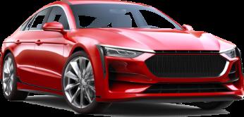 Imagen de un automóvil lujoso de color rojo