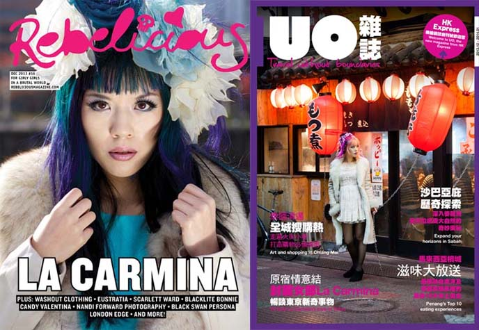 La Carmina magazine covers, fashion blogger press, goth modeling, alternative model
