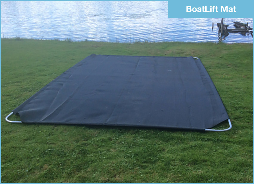 BoatLift Mat instantly creates a firm foundation for your lift — keeps it level and prevents it from sinking in soft, mucky lake bottoms. (Pictured: 9'x14' Jet Ski Mat)