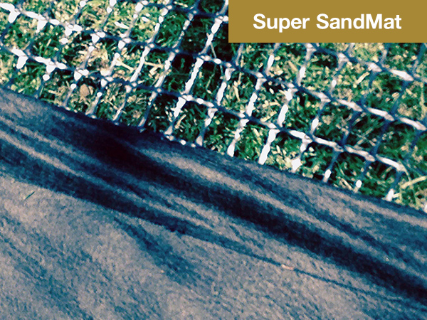 Pictured is the Super SandMat fabric and grid. You assemble them onshore and place them in your lake together.