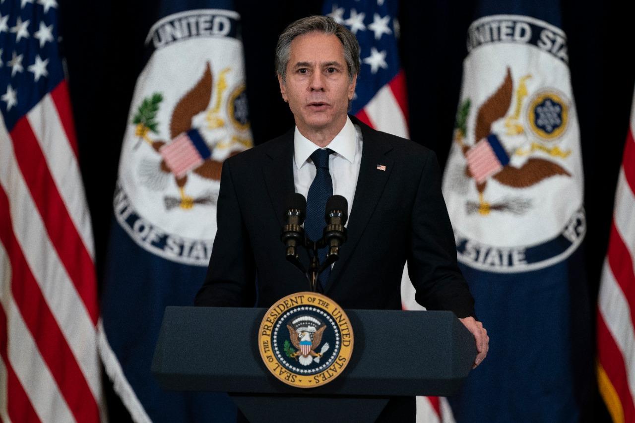 El secretario de Estado Antony Blinken hace declaraciones en el Departamento de Estado en Washington
