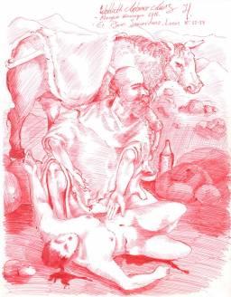 El buen samaritano Lapicero rojo sobre papel..jpg