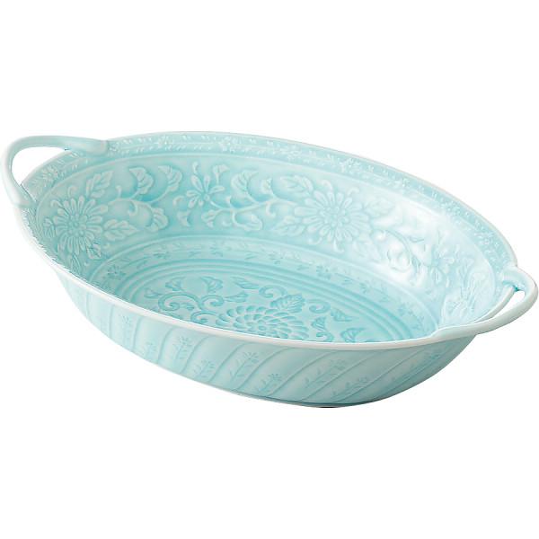 青白磁 手付楕円盛鉢