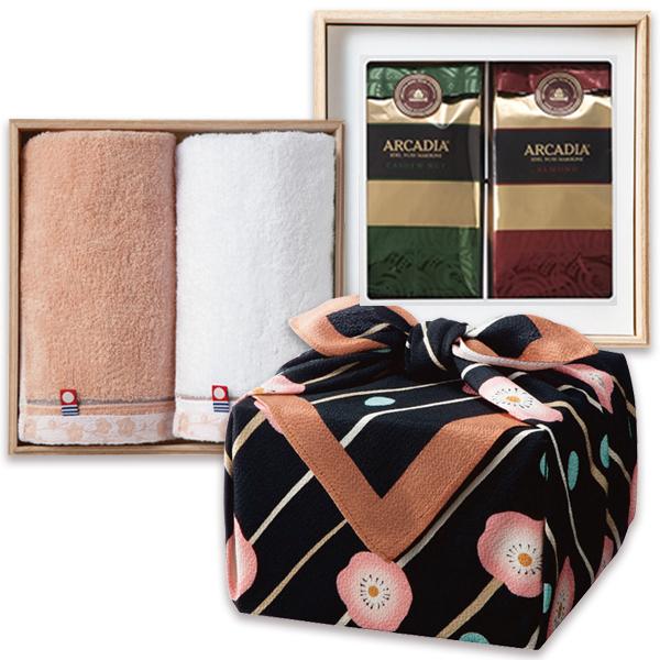 「幸せの宝箱」二段重ね ちりめん風呂敷包みクロ/のし・包装・ベビーカード不可商品