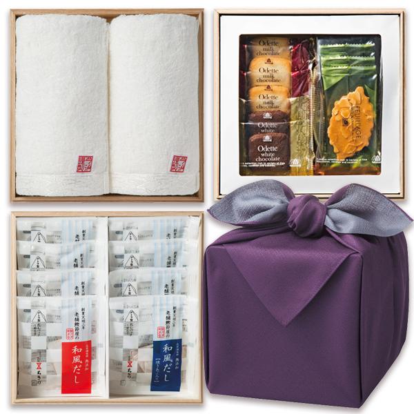 「幸せの宝箱」三段重ね 日本製風呂敷包み紫/のし・包装・ベビーカード不可商品