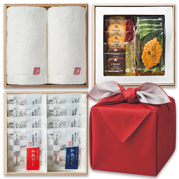「幸せの宝箱」三段重ね 日本製風呂敷包み朱/のし・包装・ベビーカード不可商品