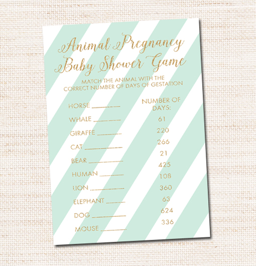 Mint And Gold Glitter Animal Pregnancy Baby Shower Game Printable