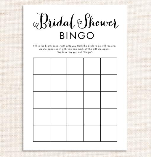 bridal shower bingo game black and white printable instant download