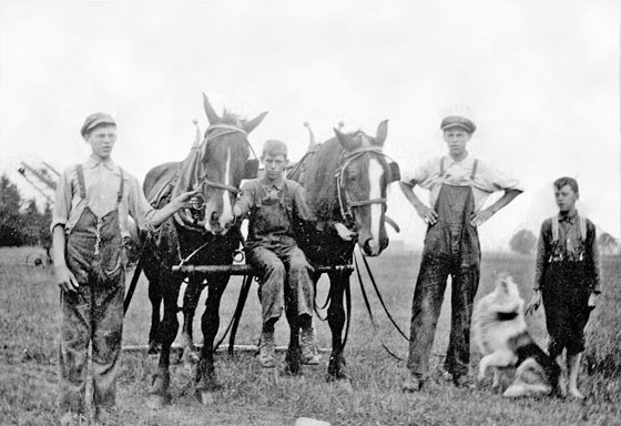 Farm workers with team of horses