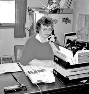 Marjorie Willoughby in L. Willoughby Fuels office.