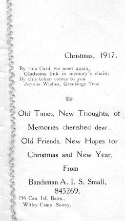Christmas card inside, 1917