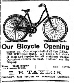 T.B. Taylor bicycle advertisement, Watford, 1900