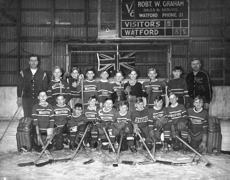 First Pee Wee hockey team, Watford, 1955