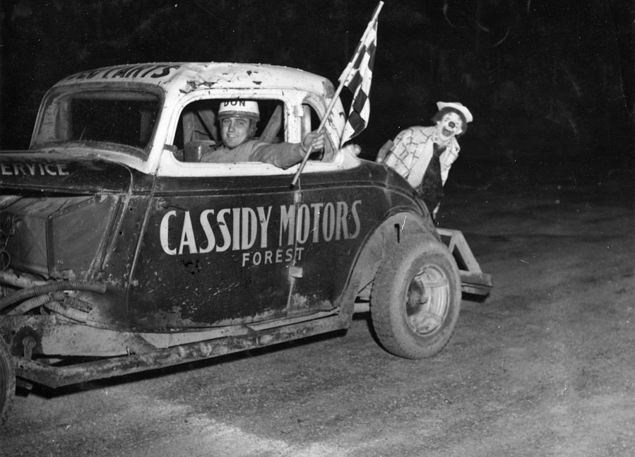 Don Mellon in Cassidy Motors '33 Ford coupe at Warwick Raceway, 1953