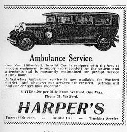 Harper's ambulance, Watford