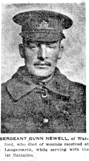 Sergeant Major L. Gunne Newell killed, May 7, 1915