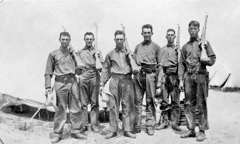 Second from left Russell Duncan, then Walter Duncan, May 1918