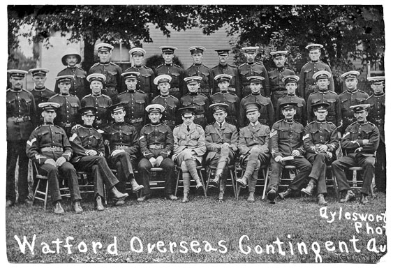 "Watford Overseas contingent, 1914: Patriotism was very high, as was the sense of adventure ""For King and Country."""