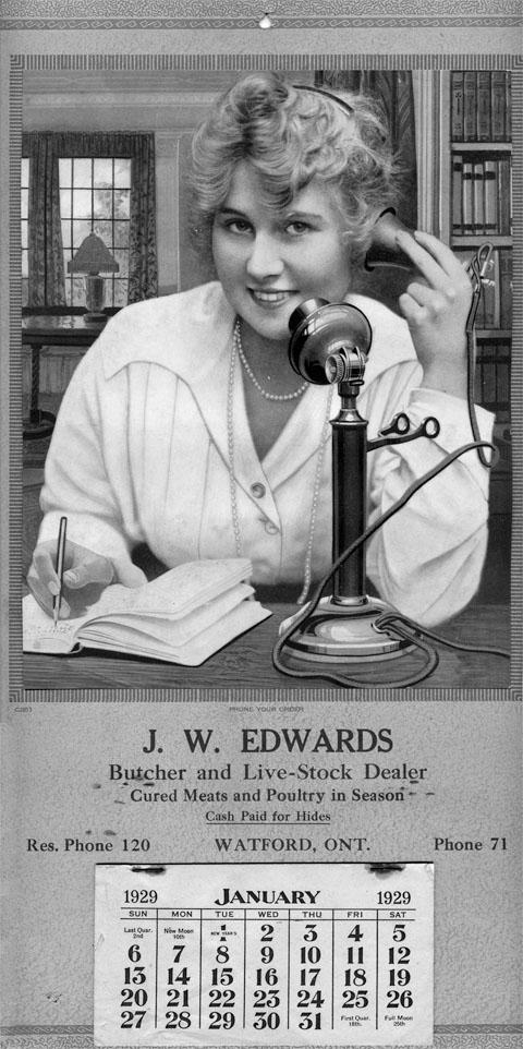 J.W. Edwards calendar, 1929