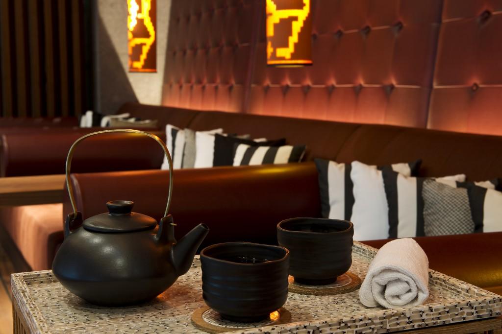 Pot of tea by the pool at Chedi Andermatt in Switzerland