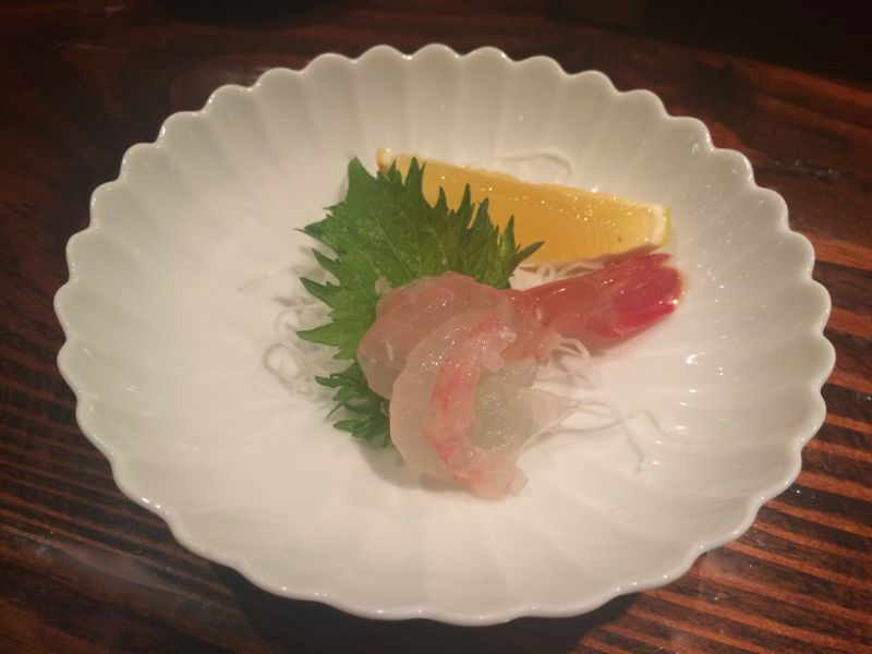 shrimp sashimi at Kiriko