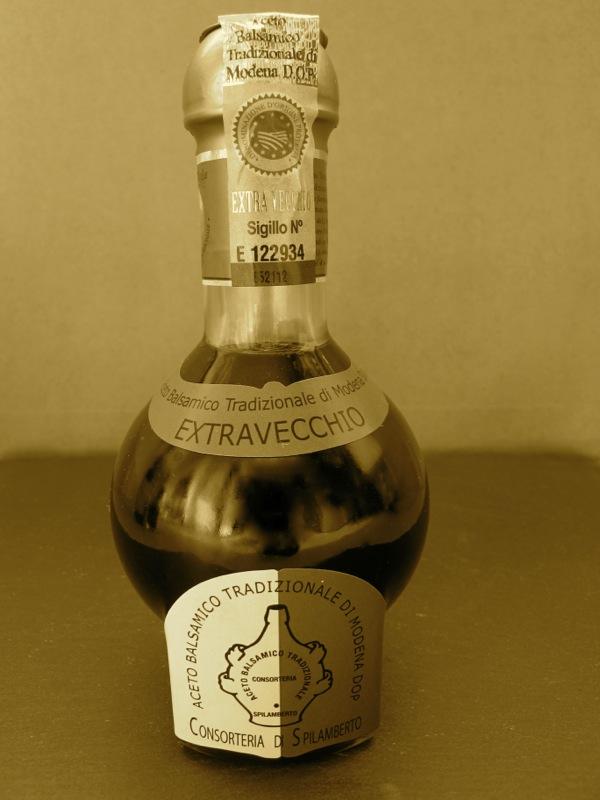 Traditional bottle shape of Balsamic Vinegar of Modena DOP