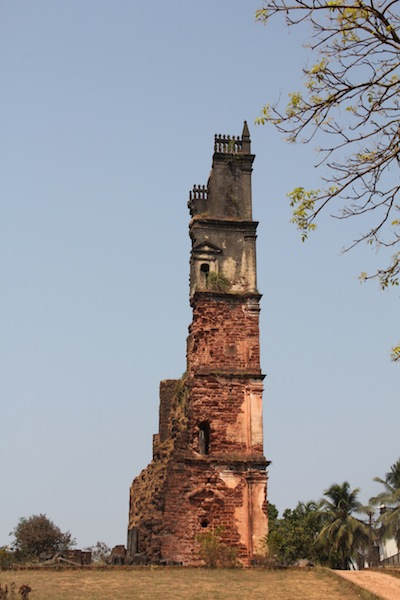ruin of the St Augustine tower in Goa