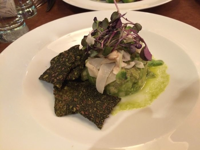 vegan and raw food Live Jicama and Avocado Tartare with kale chia crackers