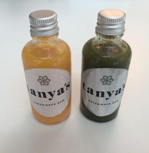 Healthy juice shots at Tanya's raw cafe