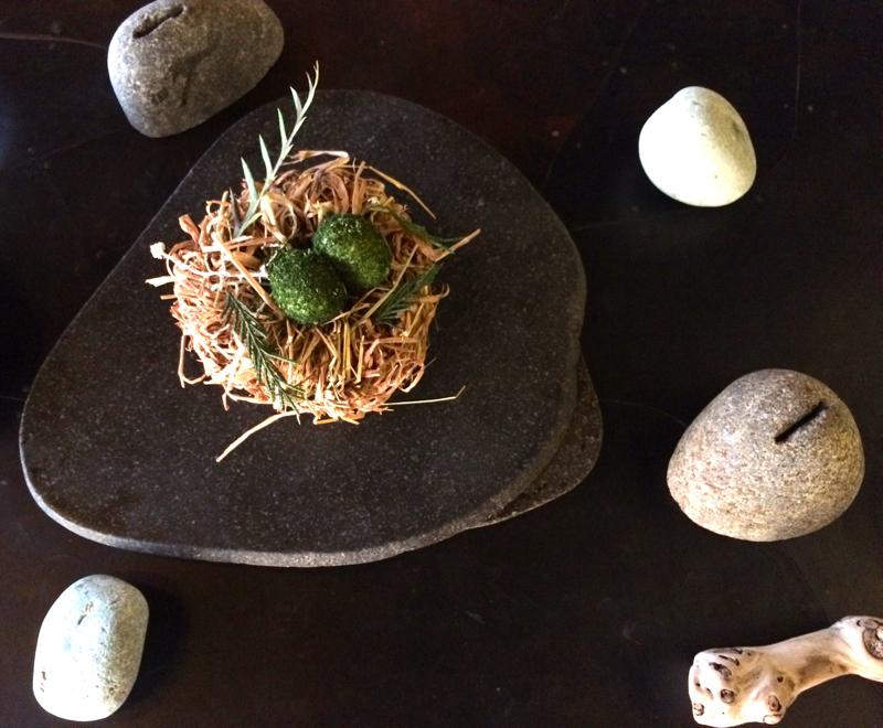 Contemporary egg dish at Vue de monde in Melbourne