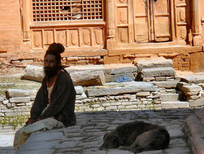 Yogi and his dog in Kathmandu