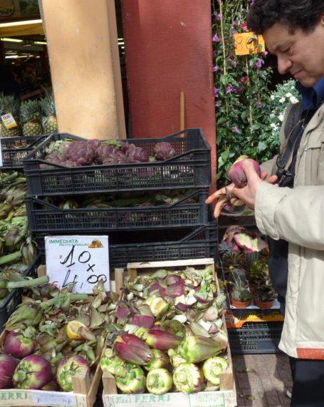 Purple artichoke on the market in Ventimiglia