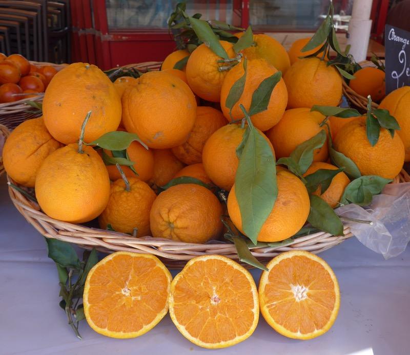 Mediterranean oranges on the market in Menton
