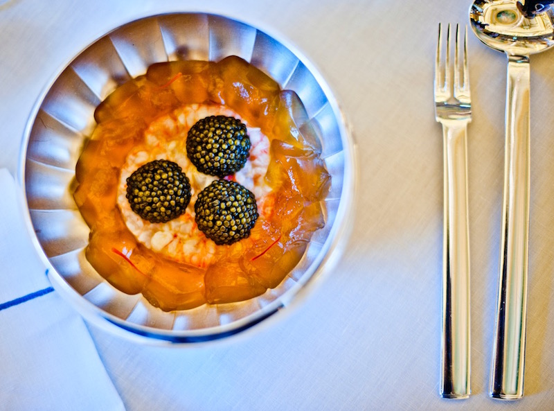 Italian prawns and caviar at Alain Ducasse at Hotel de Paris