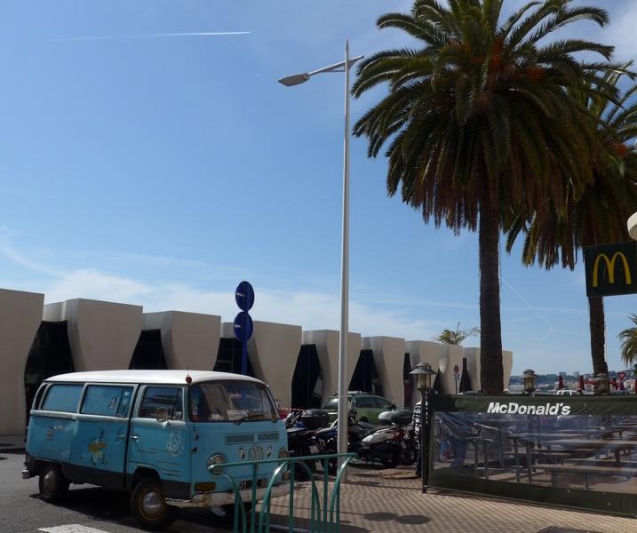VW truck of Mentonaise farmer Jean Mario next to local McDonald's