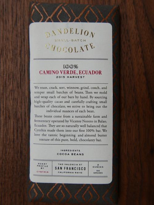 Dandelion Single Origin dark chocolate