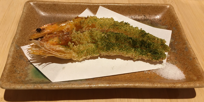 Fried matcha crusted prawns