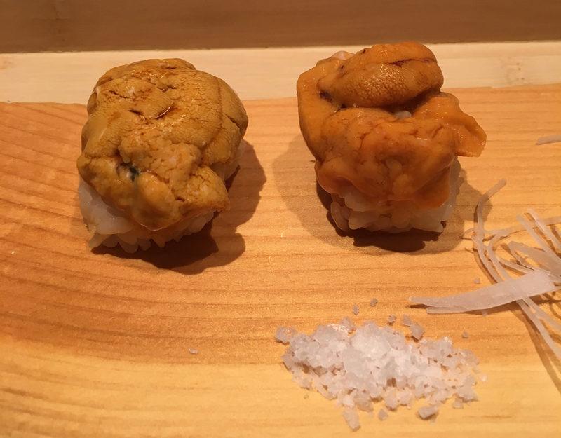 California and Hokkaido sea urchin at Sushi Yasuda