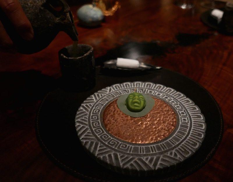 Nopal elixir with White chocolate Avocado Cremeux